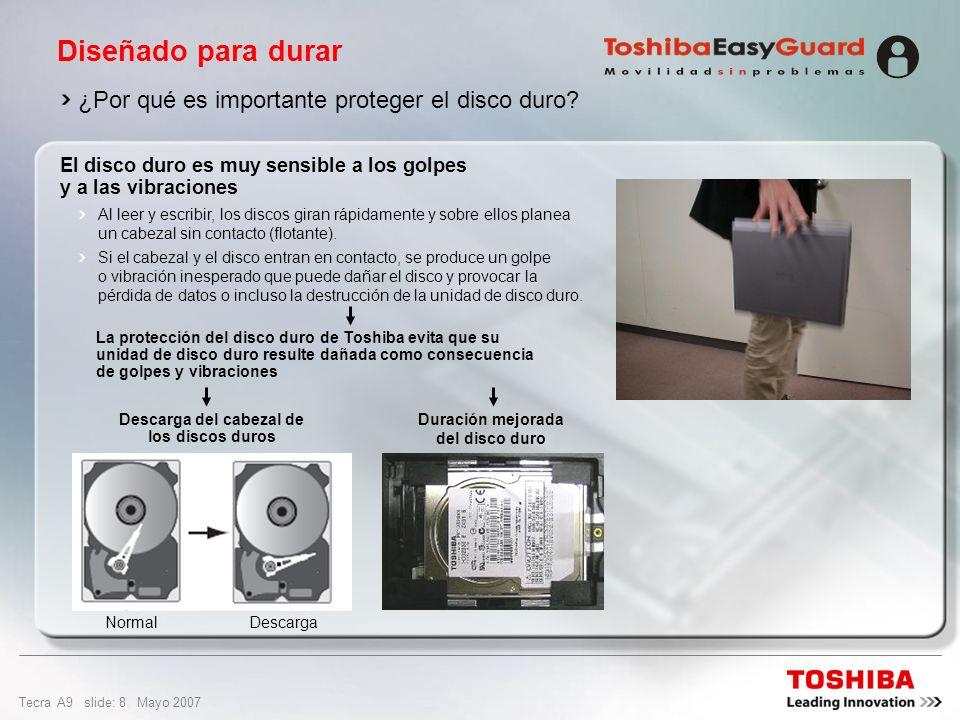 Tecra A9 slide: 28 Mayo 2007 Diseño y uso fácil Ranura PC Card para 1 tarjeta tipo II Puerto USB 2.0 Puerto LAN Ethernet de 10/100/1000 gigabit LAN inalámbrica (802.11a/b/g/Draft-N) Bluetooth ® 2.0 con EDR (velocidad de datos mejorada) Monitor externo (RGB) Módem Internacional puerto V.90 (preparado para V.92) Auriculares (estéreo) y conector de micrófono Puerto serie 2 puertos USB 2.0 Ranura 5 en 1 Bridge Media