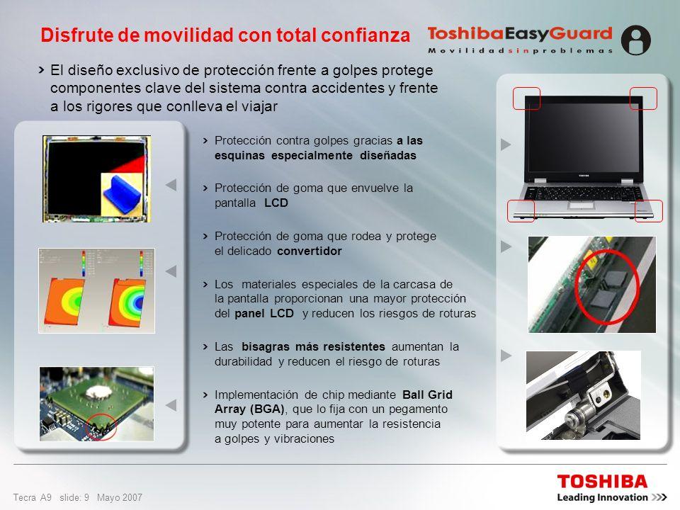 Tecra A9 slide: 8 Mayo 2007 Diseñado para durar ¿Por qué es importante proteger el disco duro? El disco duro es muy sensible a los golpes y a las vibr