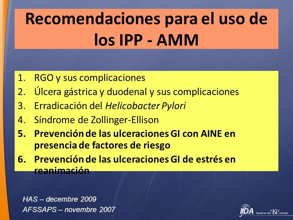 Recomendaciones para el uso de los IPP - AMM 1.RGO y sus complicaciones 2.Úlcera gástrica y duodenal y sus complicaciones 3.Erradicación del Helicobac