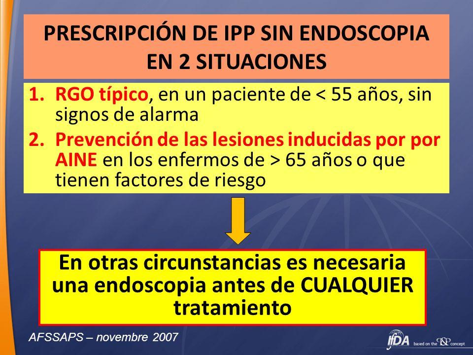 PRESCRIPCIÓN DE IPP SIN ENDOSCOPIA EN 2 SITUACIONES 1.RGO típico, en un paciente de < 55 años, sin signos de alarma 2.Prevención de las lesiones induc