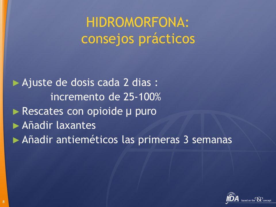 8 HIDROMORFONA: consejos prácticos Ajuste de dosis cada 2 dias : incremento de 25-100% Rescates con opioide µ puro Añadir laxantes Añadir antieméticos