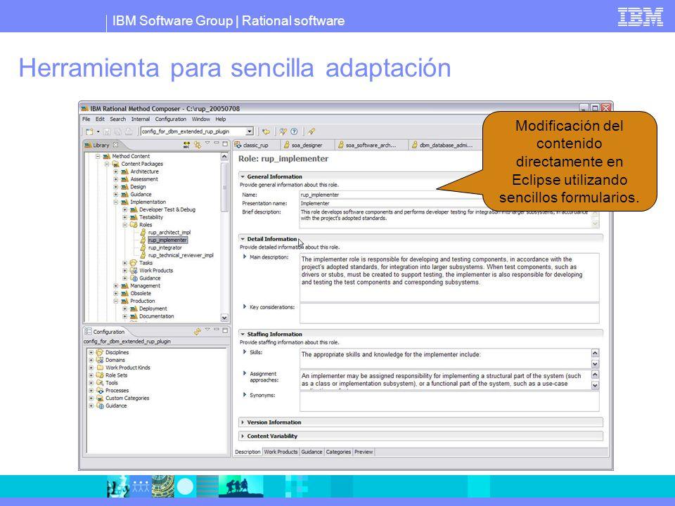 Herramienta para sencilla adaptación Modificación del contenido directamente en Eclipse utilizando sencillos formularios.