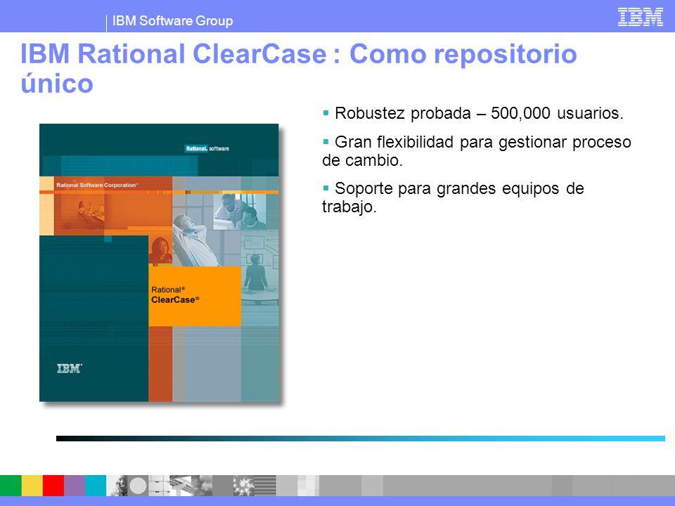 IBM Software Group IBM Rational ClearCase : Como repositorio único Robustez probada – 500,000 usuarios. Gran flexibilidad para gestionar proceso de ca