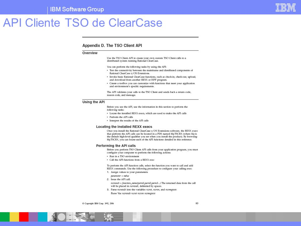 IBM Software Group API Cliente TSO de ClearCase