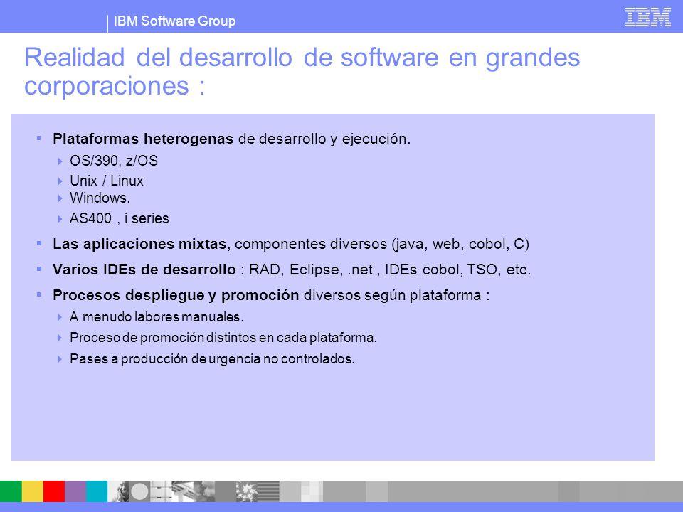 IBM Software Group Realidad del desarrollo de software en grandes corporaciones : Plataformas heterogenas de desarrollo y ejecución. OS/390, z/OS Unix