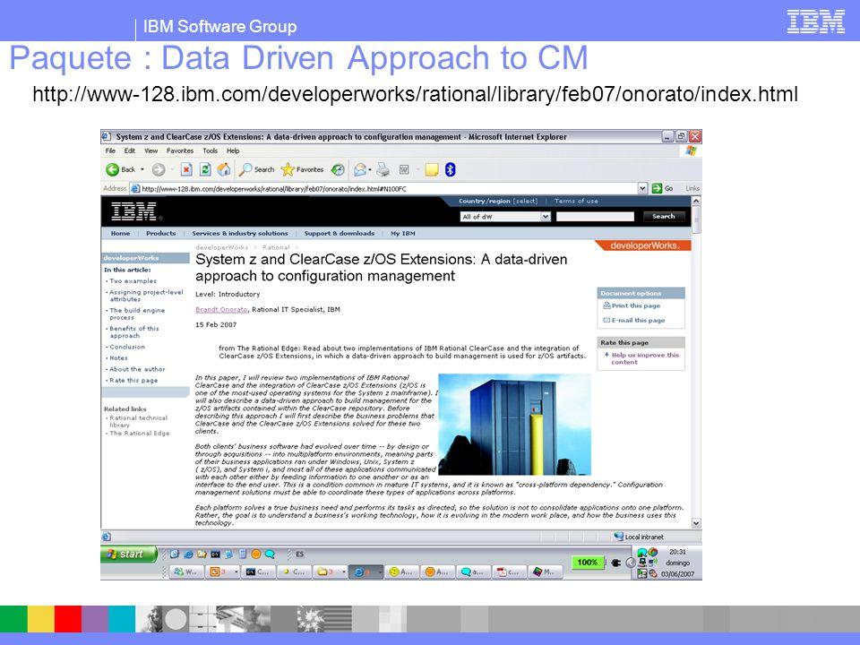 IBM Software Group Los metadatos de Clearcase guardarán la información necesaria.