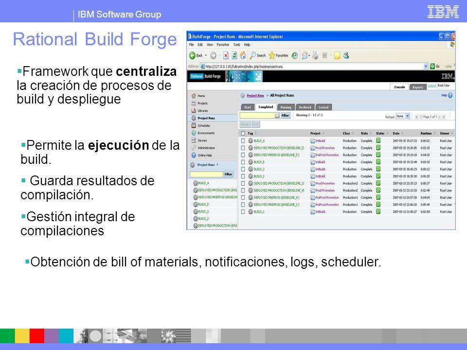 IBM Software Group Rational Build Forge Framework que centraliza la creación de procesos de build y despliegue Permite la ejecución de la build. Guard