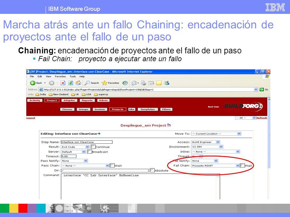 IBM Software Group Marcha atrás ante un fallo Chaining: encadenación de proyectos ante el fallo de un paso Chaining: encadenación de proyectos ante el