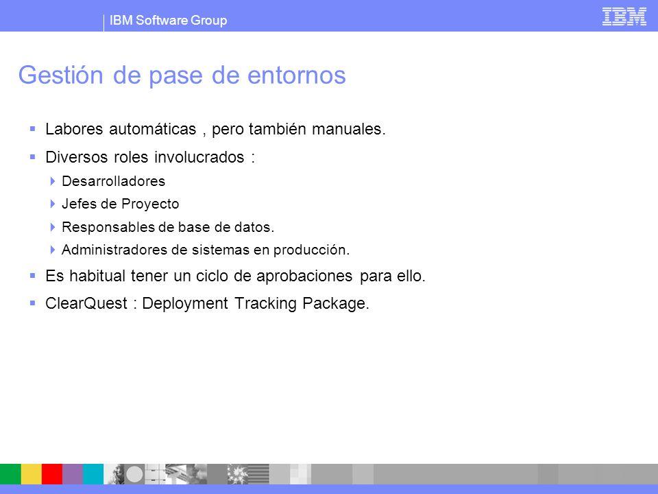 IBM Software Group Gestión de pase de entornos Labores automáticas, pero también manuales. Diversos roles involucrados : Desarrolladores Jefes de Proy
