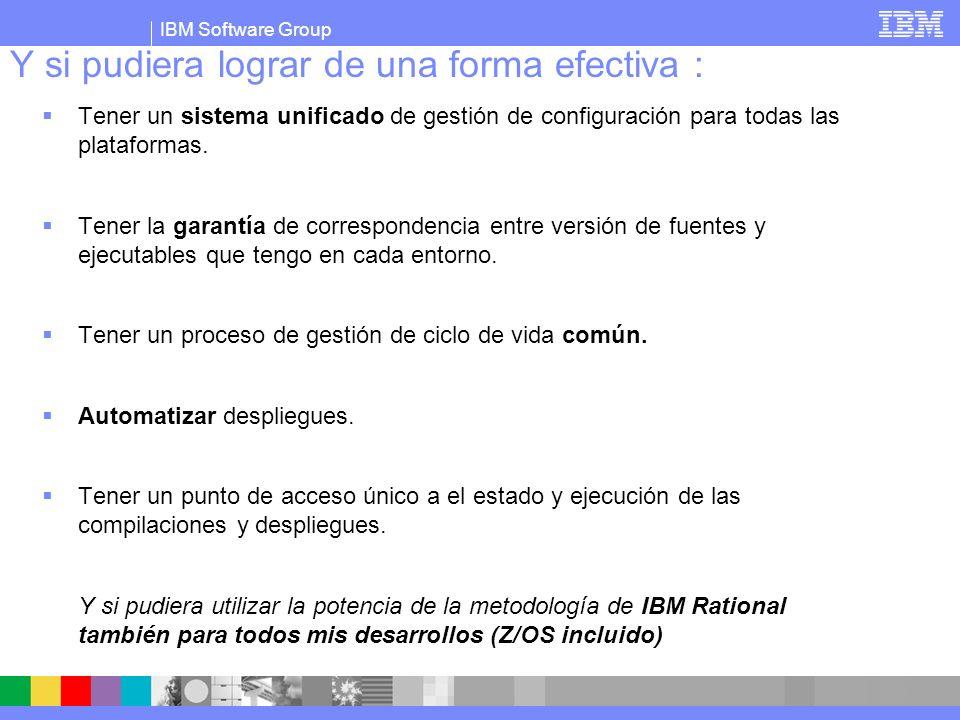 IBM Software Group Y si pudiera lograr de una forma efectiva : Tener un sistema unificado de gestión de configuración para todas las plataformas. Tene