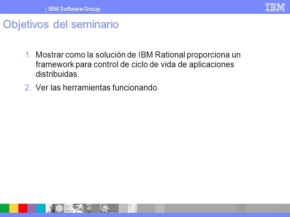 IBM Software Group Objetivos del seminario 1.Mostrar como la solución de IBM Rational proporciona un framework para control de ciclo de vida de aplica