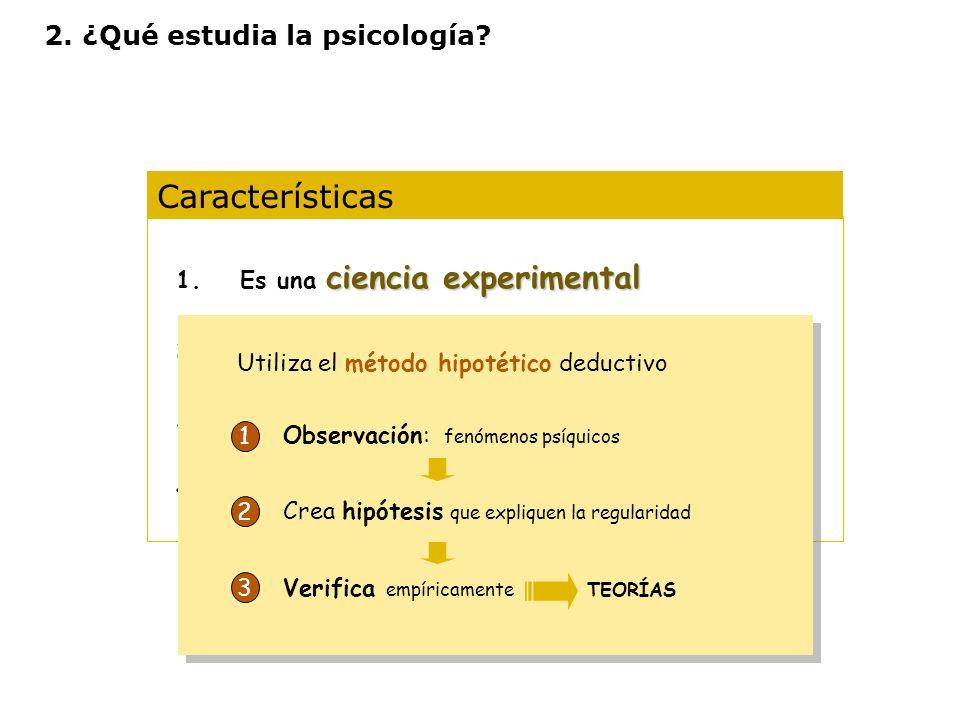 Características ciencia experimental 1.Es una ciencia experimental 2.Es una ciencia ecléctica 3.Opera con diferentes niveles de análisis 4.Diferentes
