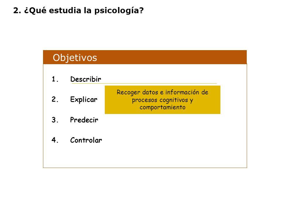 Objetivos 1.Describir 2.Explicar 3.Predecir 4.Controlar Recoger datos e información de procesos cognitivos y comportamiento 2. ¿Qué estudia la psicolo