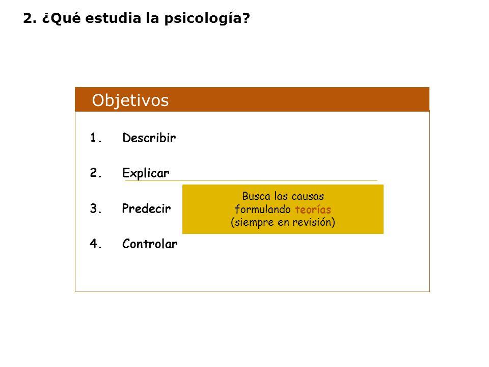 Objetivos 1.Describir 2.Explicar 3.Predecir 4.Controlar Busca las causas formulando teorías (siempre en revisión) 2. ¿Qué estudia la psicología?