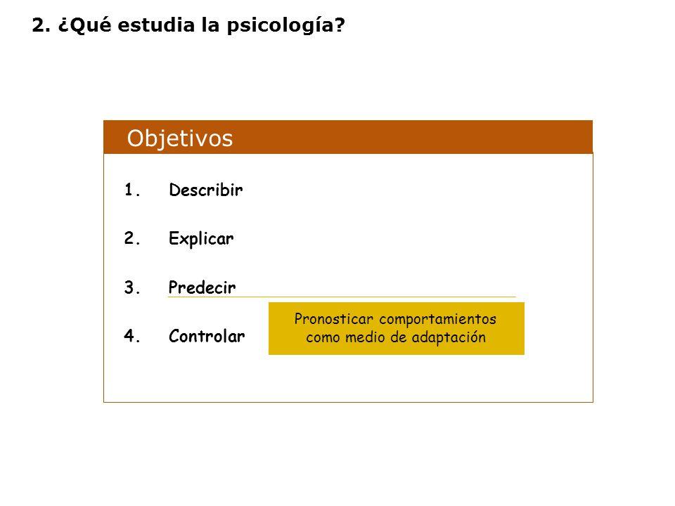 Objetivos 1.Describir 2.Explicar 3.Predecir 4.Controlar Pronosticar comportamientos como medio de adaptación 2. ¿Qué estudia la psicología?