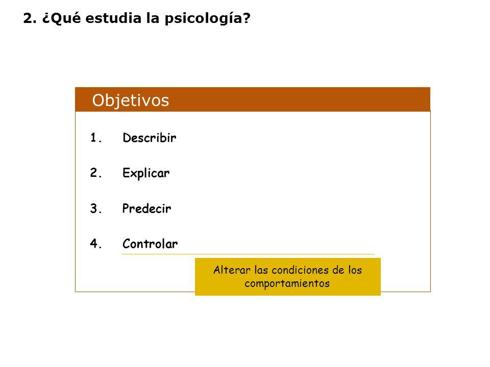 Objetivos 1.Describir 2.Explicar 3.Predecir 4.Controlar Alterar las condiciones de los comportamientos 2. ¿Qué estudia la psicología?