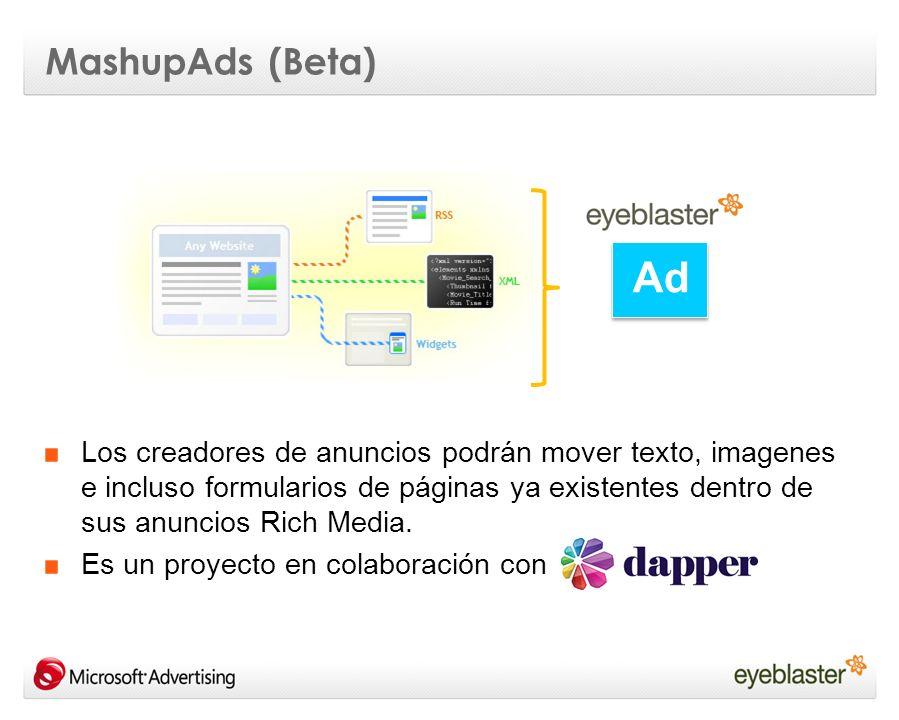 Los creadores de anuncios podrán mover texto, imagenes e incluso formularios de páginas ya existentes dentro de sus anuncios Rich Media. Es un proyect