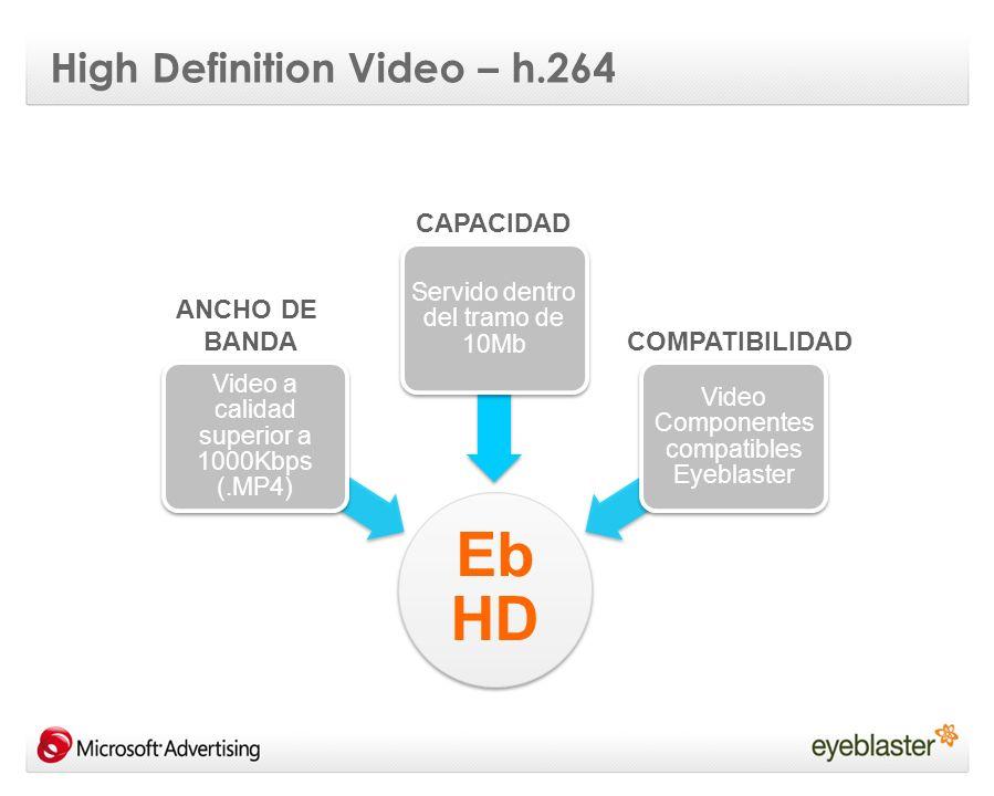 High Definition Video – h.264 El H.264 es un codec capaz de porporcionar buena calidad de video a un bitrate relativamente bajo Compresión más efectiva: h264 (2000Kbps) = h263 / MPGE2 (5000Kbps) Aplicación muy flexible adaptable a todo tipo de soportes y sitemas: low and high resolution video, broadcast, DVD, multimedia telephony systems....