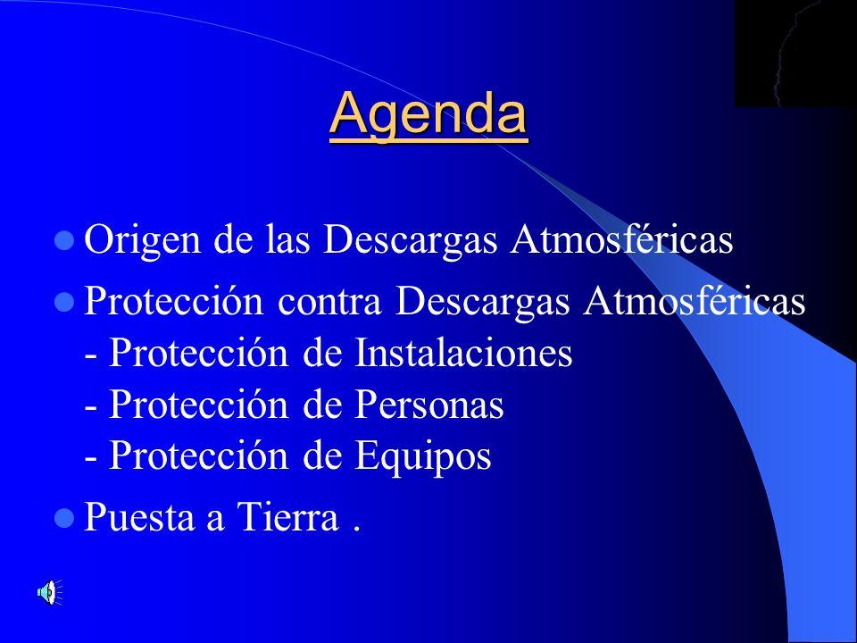 Agenda Origen de las Descargas Atmosféricas Protección contra Descargas Atmosféricas - Protección de Instalaciones - Protección de Personas - Protecci