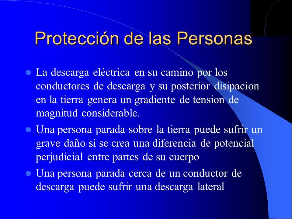 Protección de las Personas La descarga eléctrica en su camino por los conductores de descarga y su posterior disipacion en la tierra genera un gradien