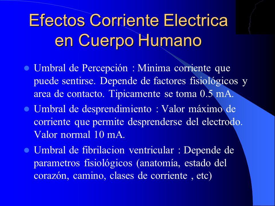 Efectos Corriente Electrica en Cuerpo Humano Umbral de Percepción : Minima corriente que puede sentirse. Depende de factores fisiológicos y area de co