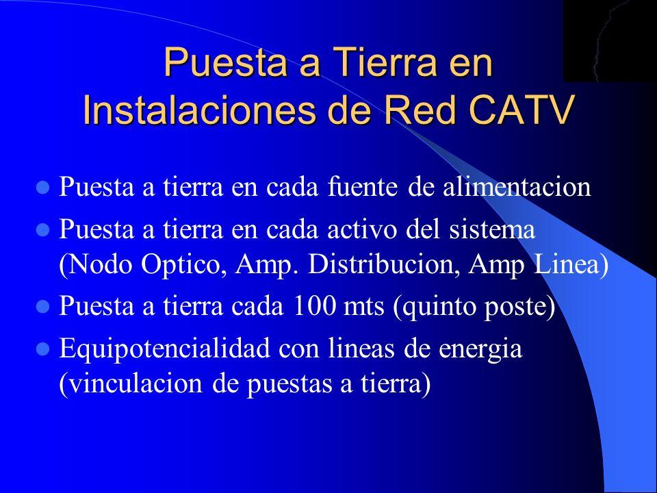 Puesta a Tierra en Instalaciones de Red CATV Puesta a tierra en cada fuente de alimentacion Puesta a tierra en cada activo del sistema (Nodo Optico, A