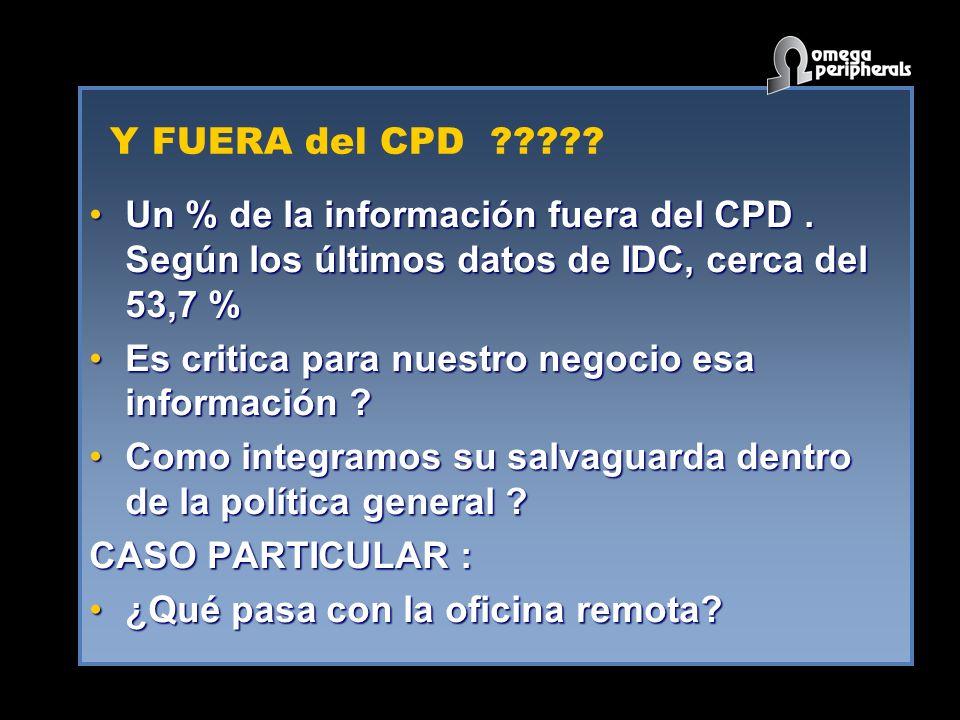 Y FUERA del CPD ????? Un % de la información fuera del CPD. Según los últimos datos de IDC, cerca del 53,7 %Un % de la información fuera del CPD. Segú