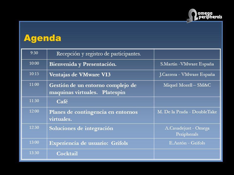 Agenda 9:30 Recepción y registro de participantes. 10:00 Bienvenida y Presentación. S.Martín -VMware España 10:15 Ventajas de VMware VI3 J.Carrera - V