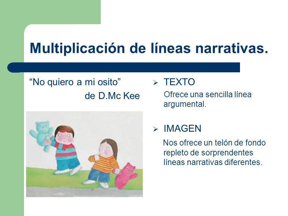 Multiplicación de líneas narrativas. No quiero a mi osito de D.Mc Kee TEXTO Ofrece una sencilla línea argumental. IMAGEN Nos ofrece un telón de fondo