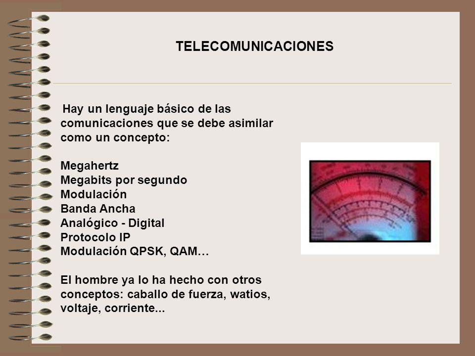 Hay un lenguaje básico de las comunicaciones que se debe asimilar como un concepto: Megahertz Megabits por segundo Modulación Banda Ancha Analógico -