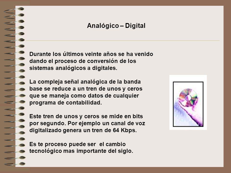 Durante los últimos veinte años se ha venido dando el proceso de conversión de los sistemas analógicos a digitales. La compleja señal analógica de la