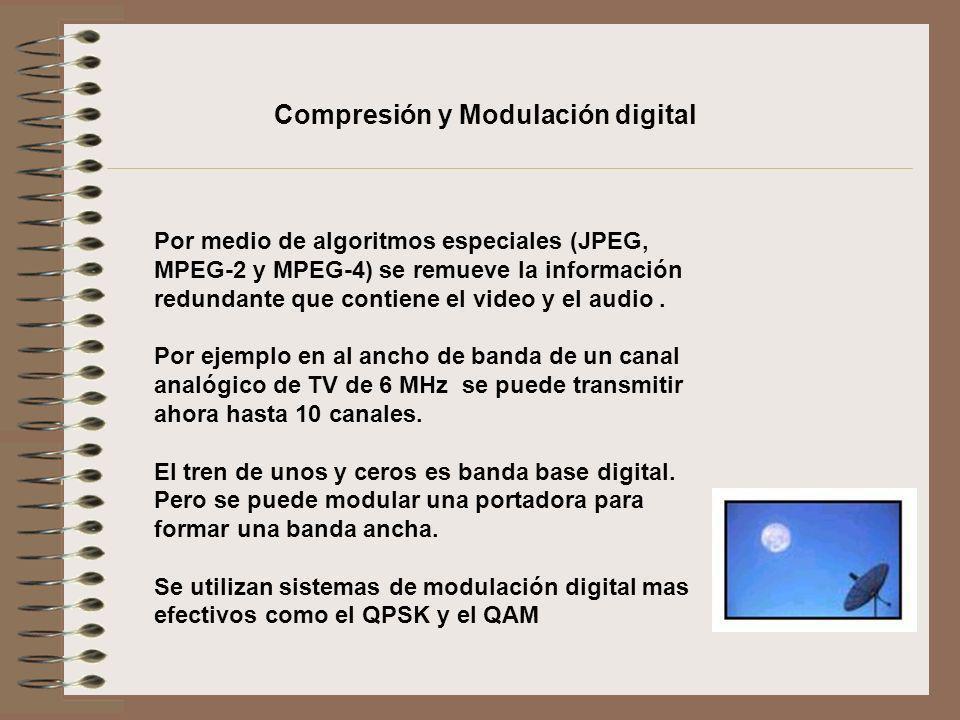 Por medio de algoritmos especiales (JPEG, MPEG-2 y MPEG-4) se remueve la información redundante que contiene el video y el audio. Por ejemplo en al an