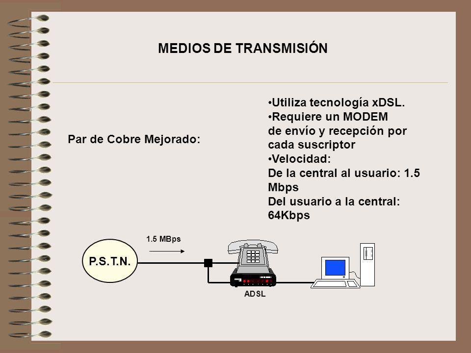 Par de Cobre Mejorado: Utiliza tecnología xDSL. Requiere un MODEM de envío y recepción por cada suscriptor Velocidad: De la central al usuario: 1.5 Mb