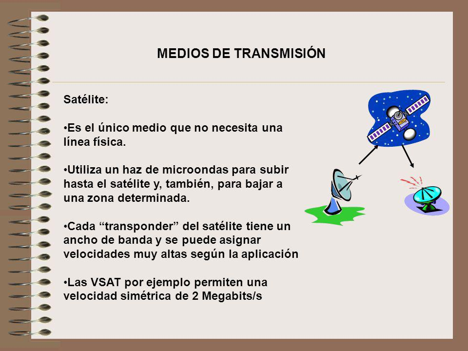 Satélite: Es el único medio que no necesita una línea física. Utiliza un haz de microondas para subir hasta el satélite y, también, para bajar a una z