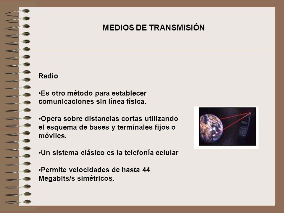 Radio Es otro método para establecer comunicaciones sin línea física. Opera sobre distancias cortas utilizando el esquema de bases y terminales fijos