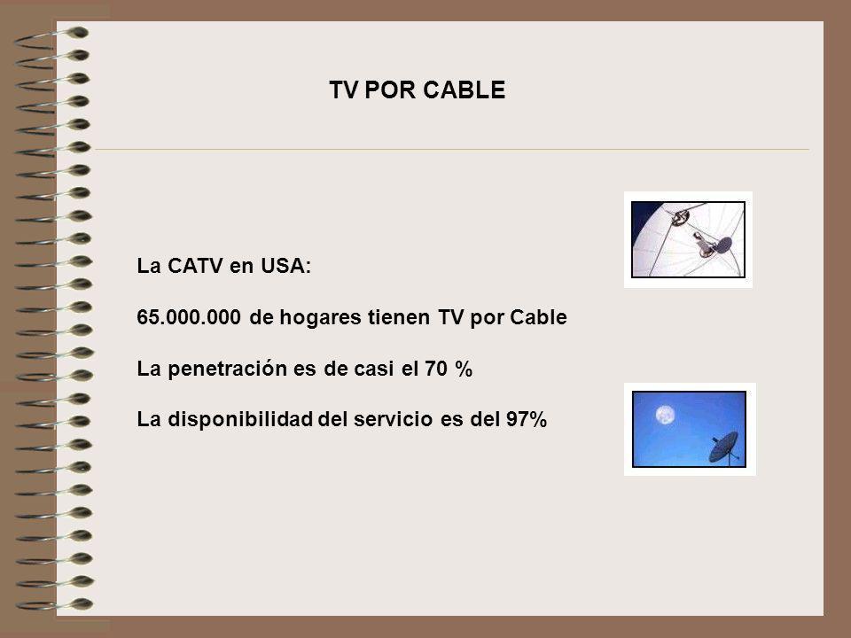 TV POR CABLE La CATV en USA: 65.000.000 de hogares tienen TV por Cable La penetración es de casi el 70 % La disponibilidad del servicio es del 97%