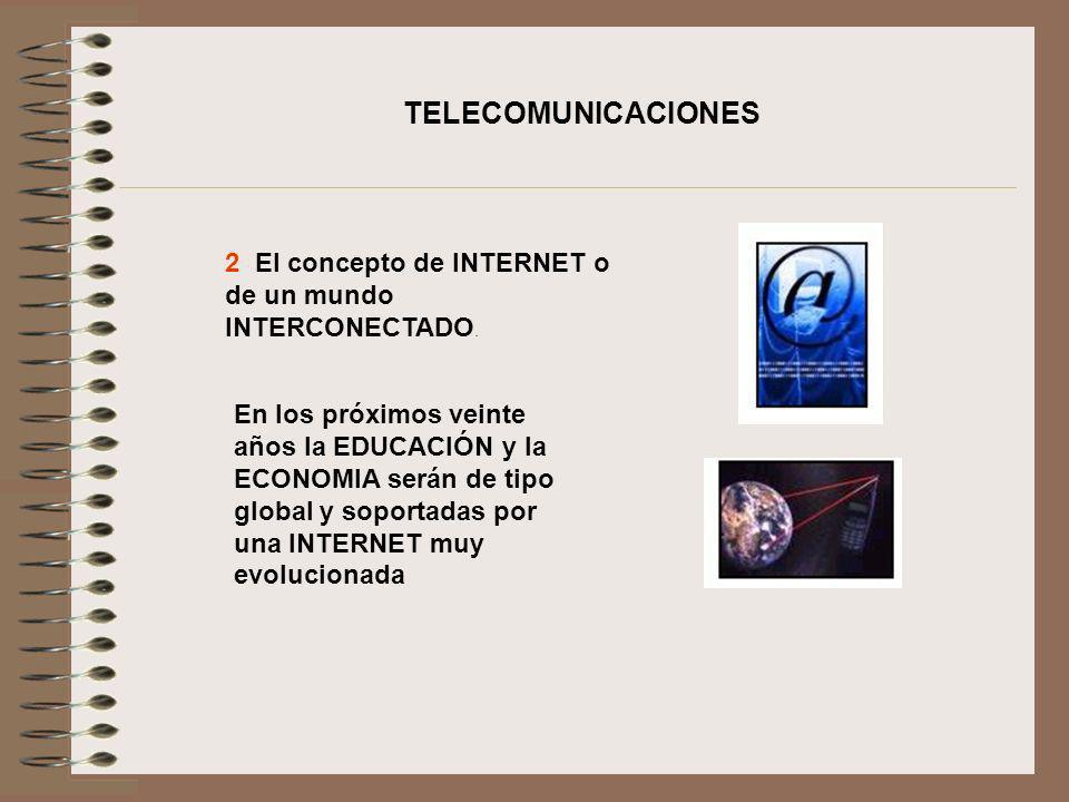 2 El concepto de INTERNET o de un mundo INTERCONECTADO. En los próximos veinte años la EDUCACIÓN y la ECONOMIA serán de tipo global y soportadas por u