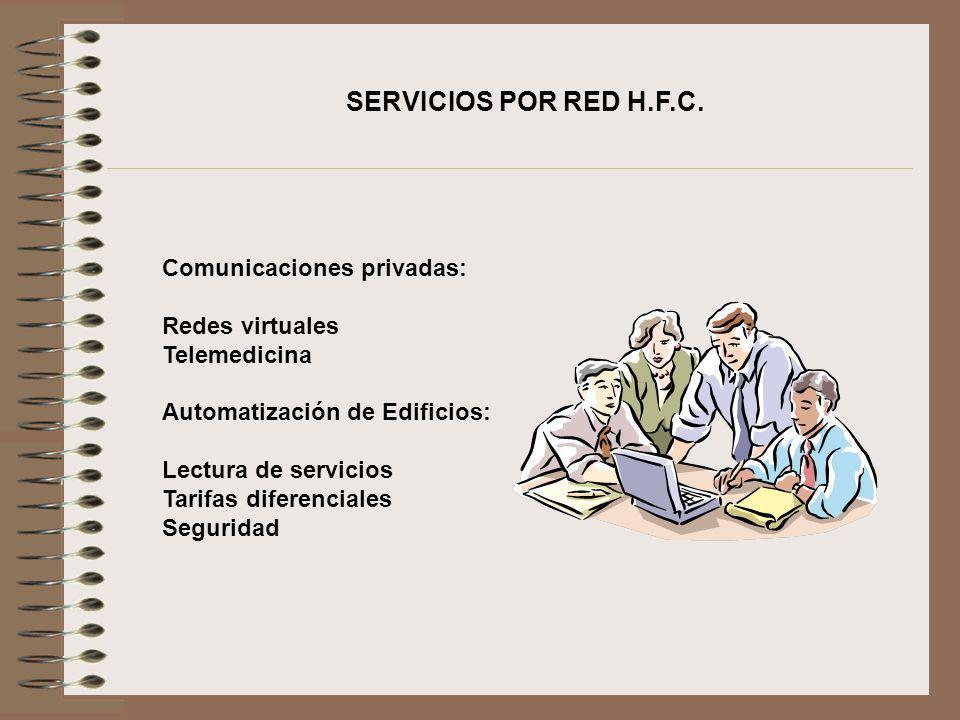 Comunicaciones privadas: Redes virtuales Telemedicina Automatización de Edificios: Lectura de servicios Tarifas diferenciales Seguridad