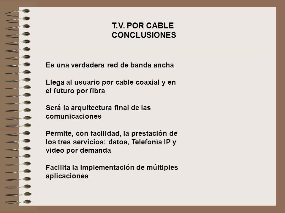 T.V. POR CABLE CONCLUSIONES Es una verdadera red de banda ancha Llega al usuario por cable coaxial y en el futuro por fibra Será la arquitectura final