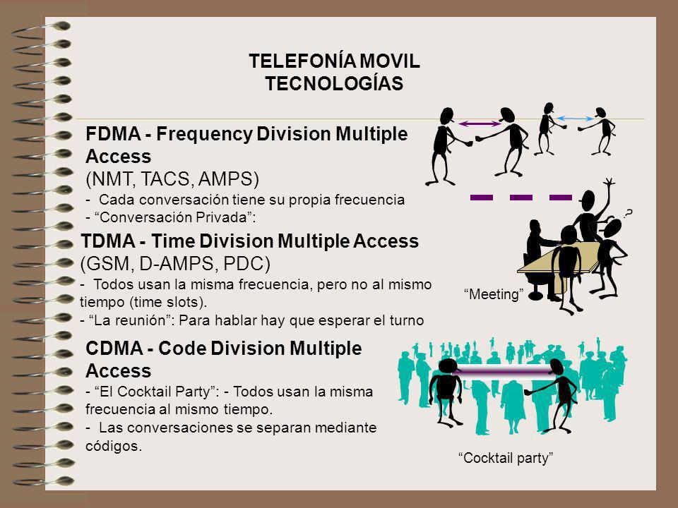 TELEFONÍA MOVIL TECNOLOGÍAS FDMA - Frequency Division Multiple Access (NMT, TACS, AMPS) - Cada conversación tiene su propia frecuencia - Conversación