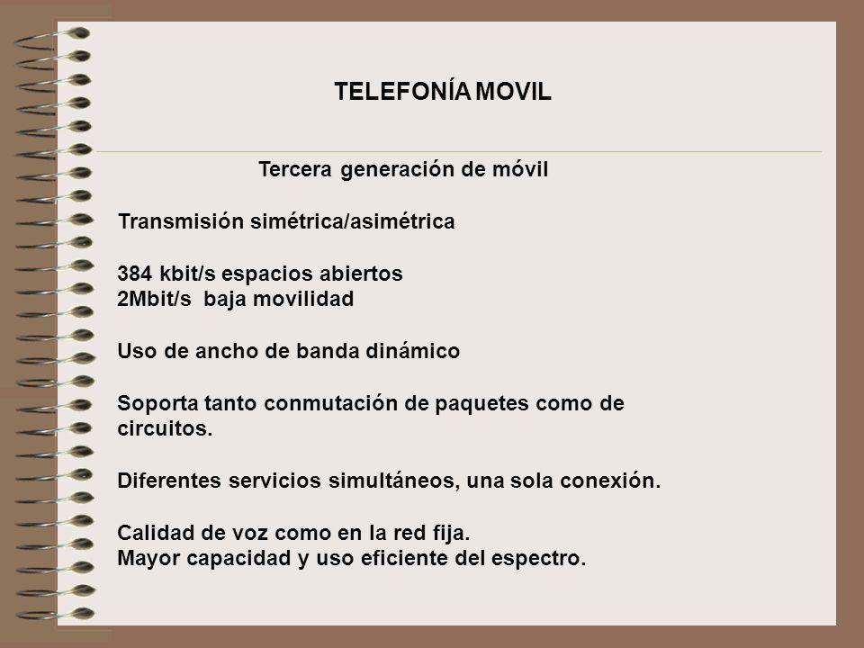 TELEFONÍA MOVIL Tercera generación de móvil Transmisión simétrica/asimétrica 384 kbit/s espacios abiertos 2Mbit/s baja movilidad Uso de ancho de banda