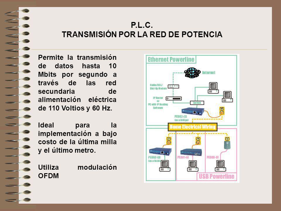 P.L.C. TRANSMISIÓN POR LA RED DE POTENCIA Permite la transmisión de datos hasta 10 Mbits por segundo a través de las red secundaria de alimentación el