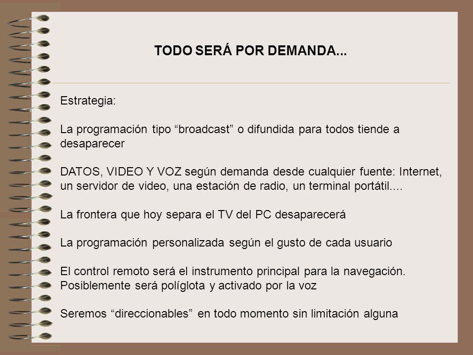 TODO SERÁ POR DEMANDA... Estrategia: La programación tipo broadcast o difundida para todos tiende a desaparecer DATOS, VIDEO Y VOZ según demanda desde