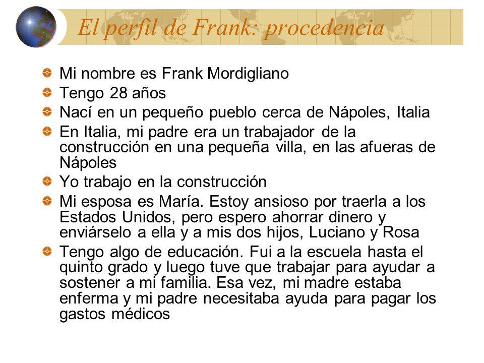 Mi nombre es Frank Mordigliano Tengo 28 años Nací en un pequeño pueblo cerca de Nápoles, Italia En Italia, mi padre era un trabajador de la construcción en una pequeña villa, en las afueras de Nápoles Yo trabajo en la construcción Mi esposa es María.