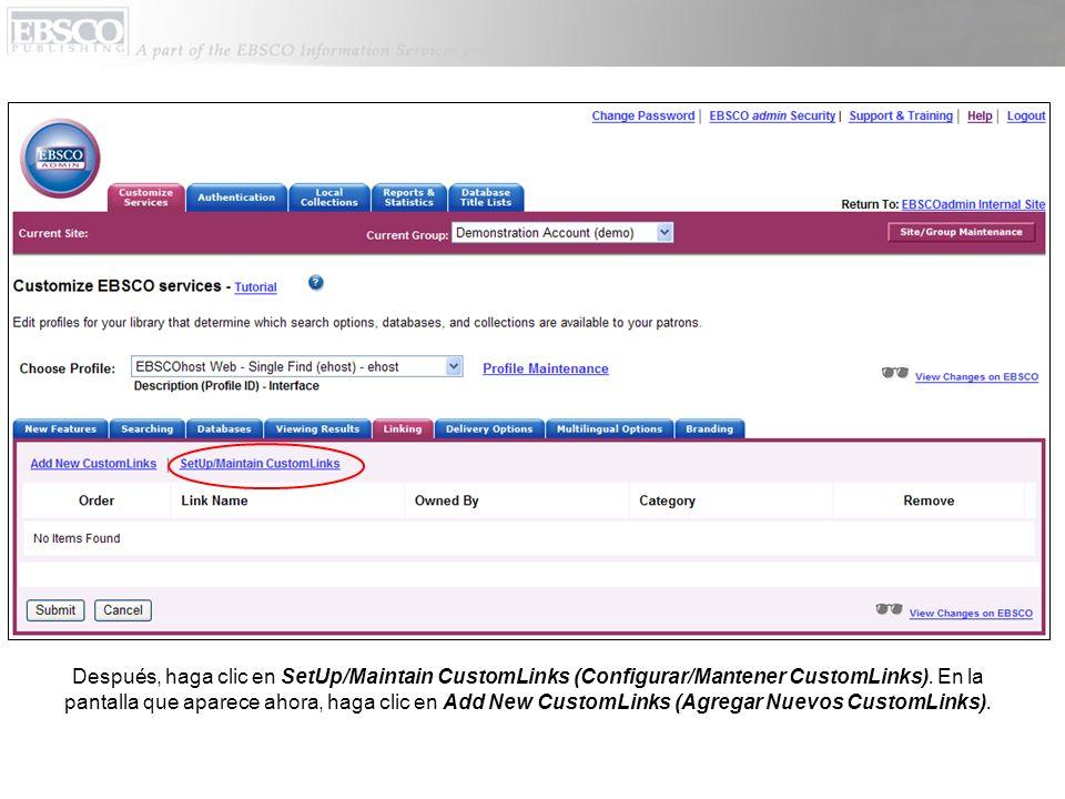 Después, haga clic en SetUp/Maintain CustomLinks (Configurar/Mantener CustomLinks). En la pantalla que aparece ahora, haga clic en Add New CustomLinks