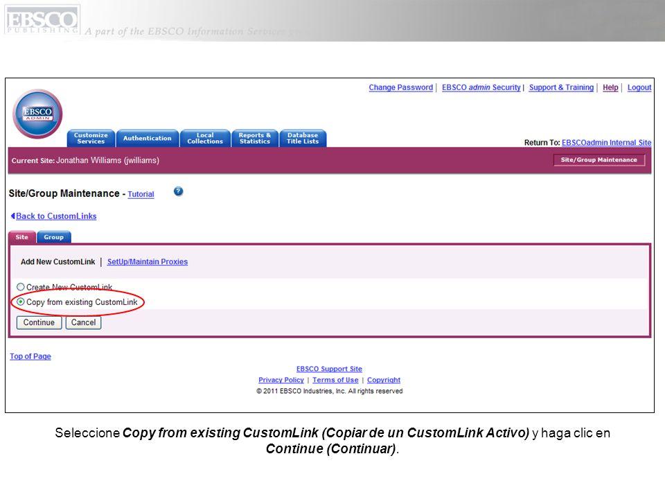 De la lista que se despliega junto a Choose Category (Escoger Categoria) seleccione Other (Otro) y haga clic en A-to-Z with LinkSource (all content) en lista de los CustomLinks que están disponibles.