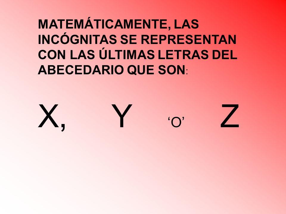 MATEMÁTICAMENTE, LAS INCÓGNITAS SE REPRESENTAN CON LAS ÚLTIMAS LETRAS DEL ABECEDARIO QUE SON : X, Y O Z