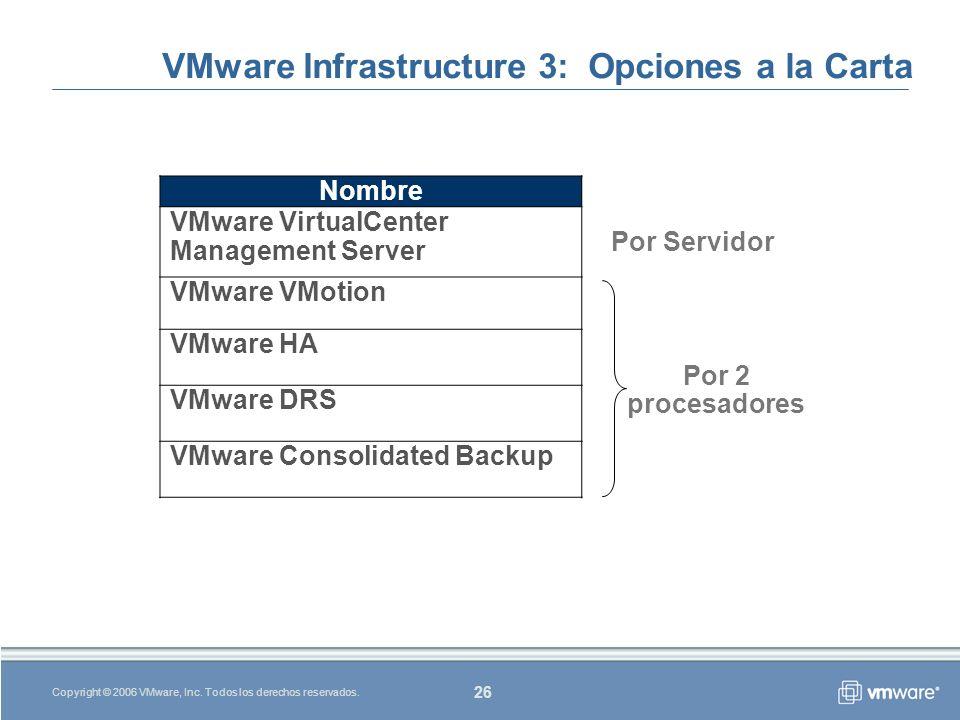 26 Copyright © 2006 VMware, Inc.Todos los derechos reservados.