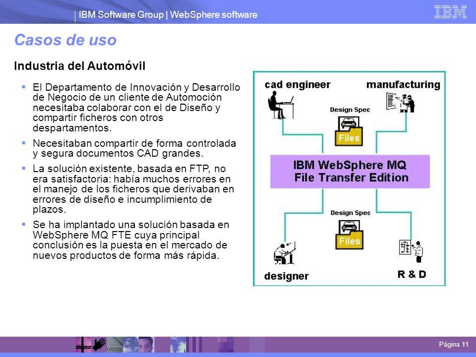 IBM Software Group | WebSphere software Casos de uso Página 11 Industria del Automóvil El Departamento de Innovación y Desarrollo de Negocio de un cli