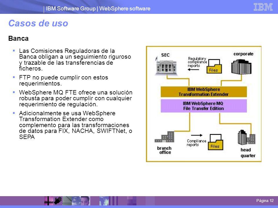 IBM Software Group | WebSphere software Casos de uso Página 12 Banca Las Comisiones Reguladoras de la Banca obligan a un seguimiento riguroso y trazab